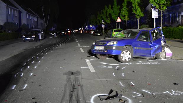 The demolished Citroen is on the road after the accident