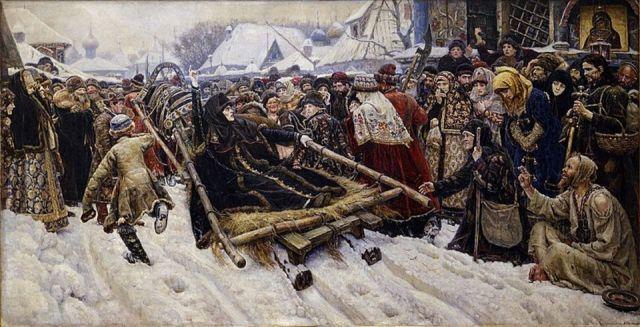 Auf dem Bild von Wassilij Iwanowitsch Surikowreckt die Bojarin die Hand mit den traditionellen zwei Fingern des Kreuzzeichens zum Himmel.