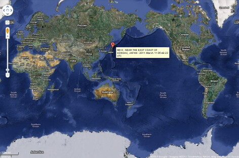 Harta glob cu epicentru cutremur Japonia