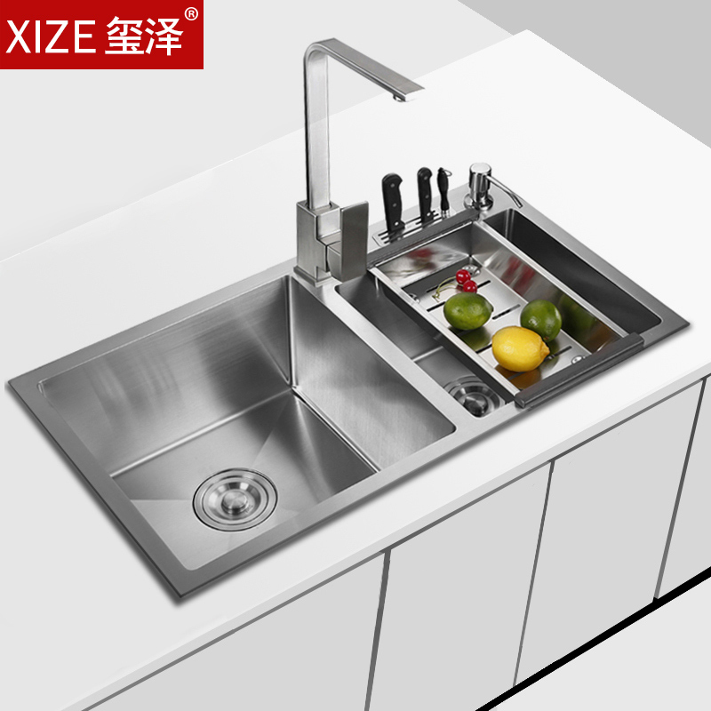 square kitchen sink cabinets for less 玺泽手工槽双槽水槽方形洗菜盆池厨房304不锈钢洗碗盆玺泽 xize 厨盆 水槽 玺泽手工槽双槽水槽方形洗菜盆池厨房304不锈钢洗