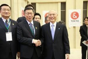 台北市長柯文哲(左2)拜會東京都知事舛添要一