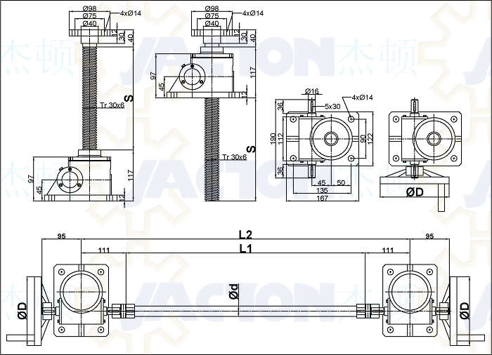 industrial crank table base with manual acme screw jack