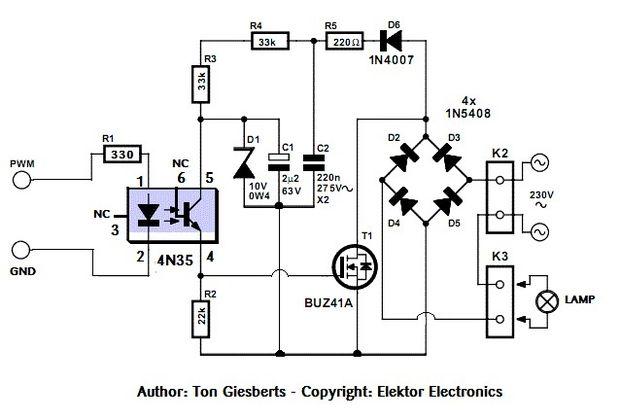 Sûre et simple AC PWM Dimmer pour arduino / Raspberry pi