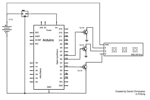 Circuit de Strip LED RGB avec Arduino / Étape 3: Montage