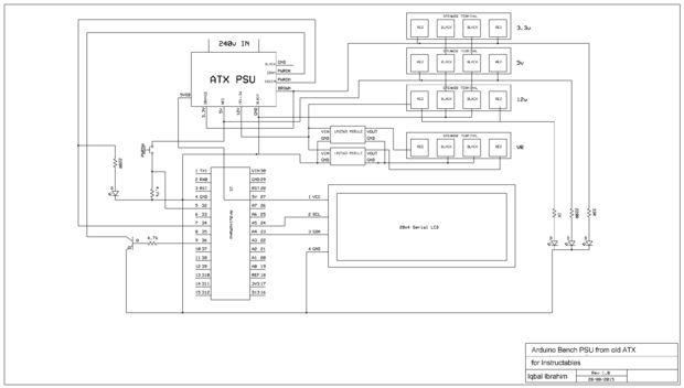 Banc d'alimentation PSU de vieux ATX avec Arduino et