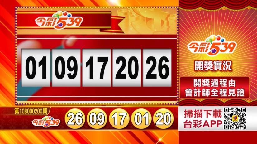 今彩539中獎號碼》第108000200期 民國108年8月21日