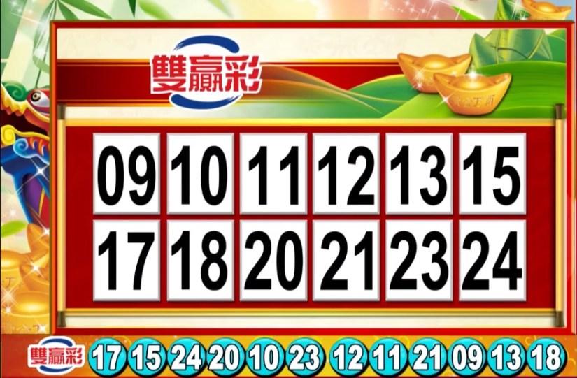 雙贏彩中獎號碼》第108000133期 民國108年6月4日
