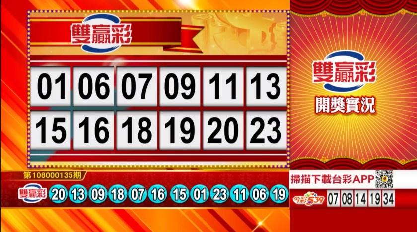 雙贏彩中獎號碼》第108000135期 民國108年6月6日