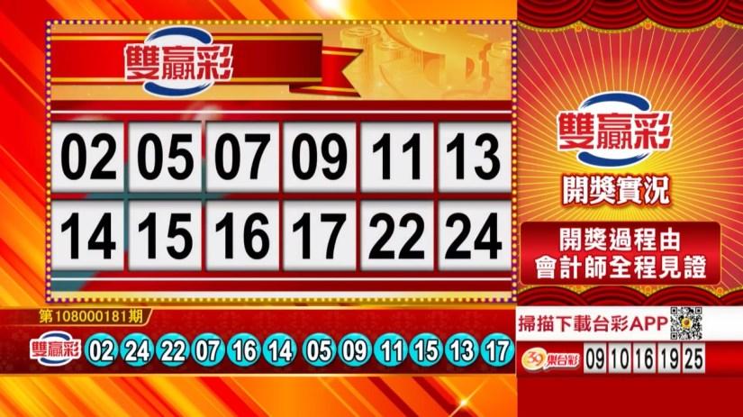 雙贏彩中獎號碼》第108000181期 民國108年7月30日