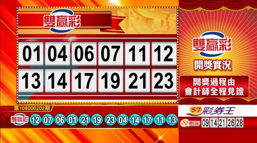 雙贏彩中獎號碼》第108000202期 民國108年8月23日