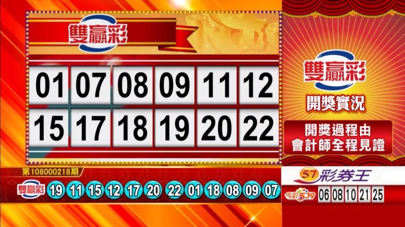 雙贏彩中獎號碼》第108000218期 民國108年9月11日