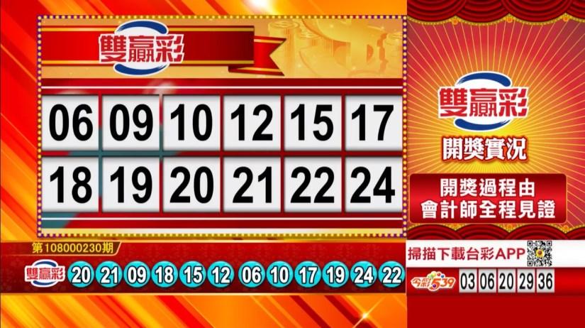 雙贏彩中獎號碼》第108000230期 民國108年9月25日