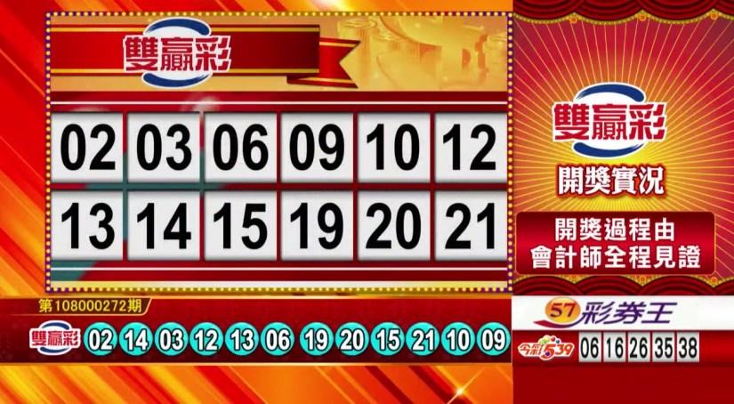 雙贏彩中獎號碼》第108000272期 民國108年11月13日