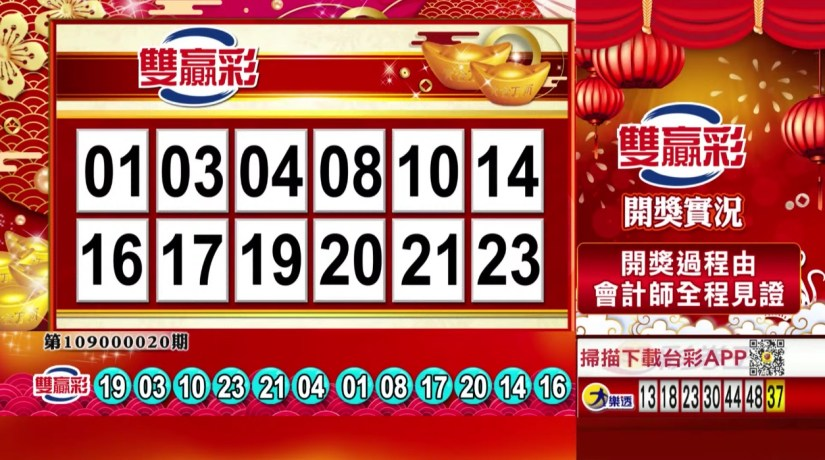 雙贏彩中獎號碼》第109000020期 民國109年1月23日