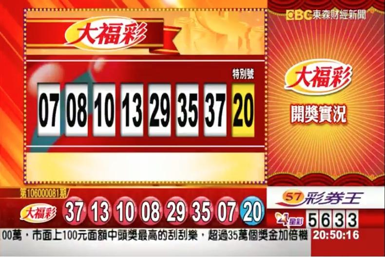 第106000081期 民國106年10月11日 大福彩 中獎號碼