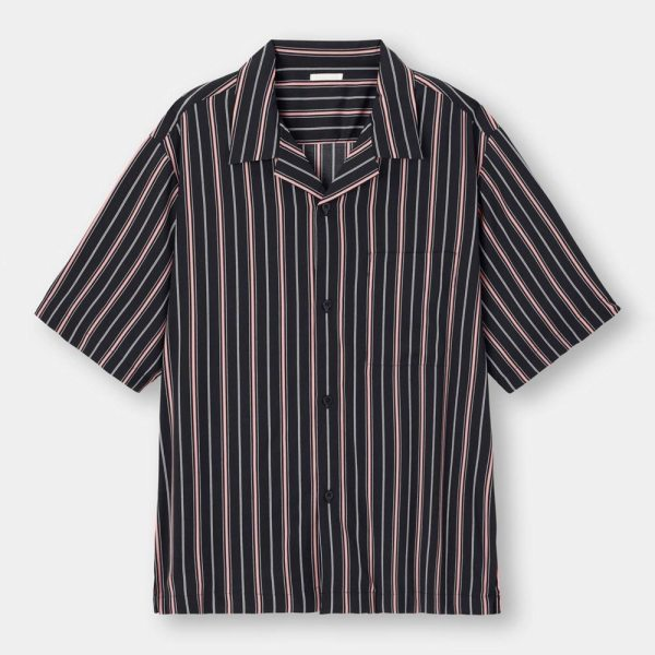 オープンカラーシャツ(5分袖)(ストライプ)-BLACK