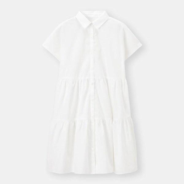 ティアードミニシャツワンピース(半袖)-OFF WHITE