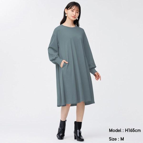 フレアミディワンピース(長袖)-BLUE