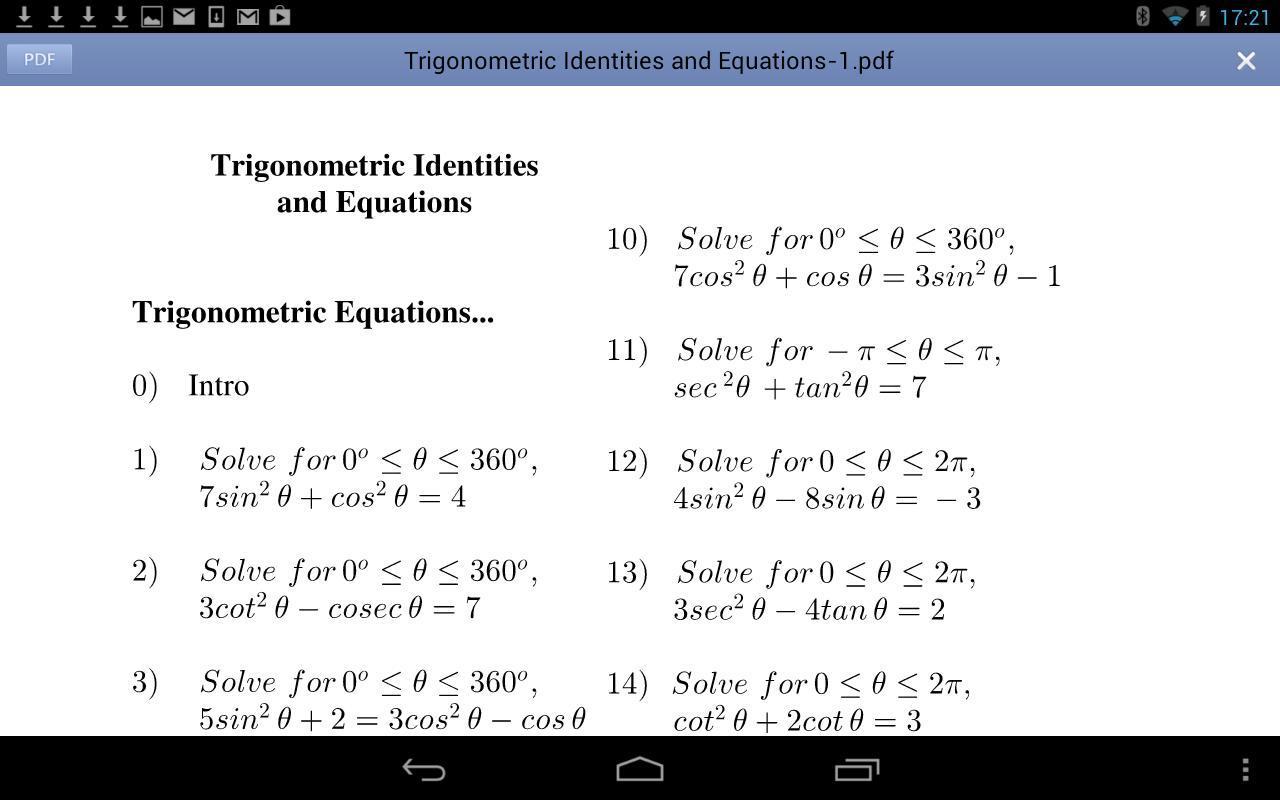 Solving Trigonometric Equations Worksheet