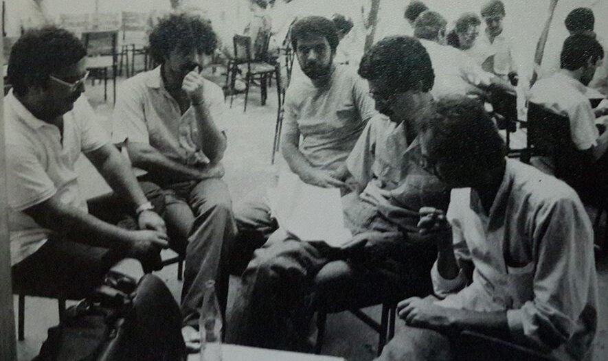 Erenler'de, (soldan sağa) Tuğrul Tanyol, Adnan Özer, Yusuf Algazi, Metin Celal ve Samet Bağçe