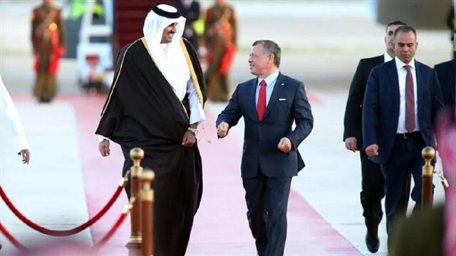 Qatar Emir Al-Sani and King Abdullah of Jordan