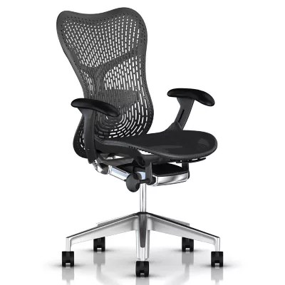 office chair with adjustable arms tall deck chairs herman miller mirra 2 triflex back semi polished base graphite frame