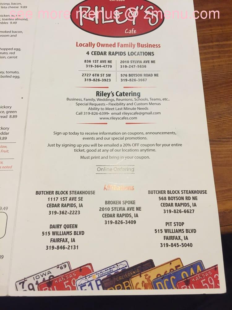 Online Menu Of Rileys Cafe Amp Catering Restaurant Cedar