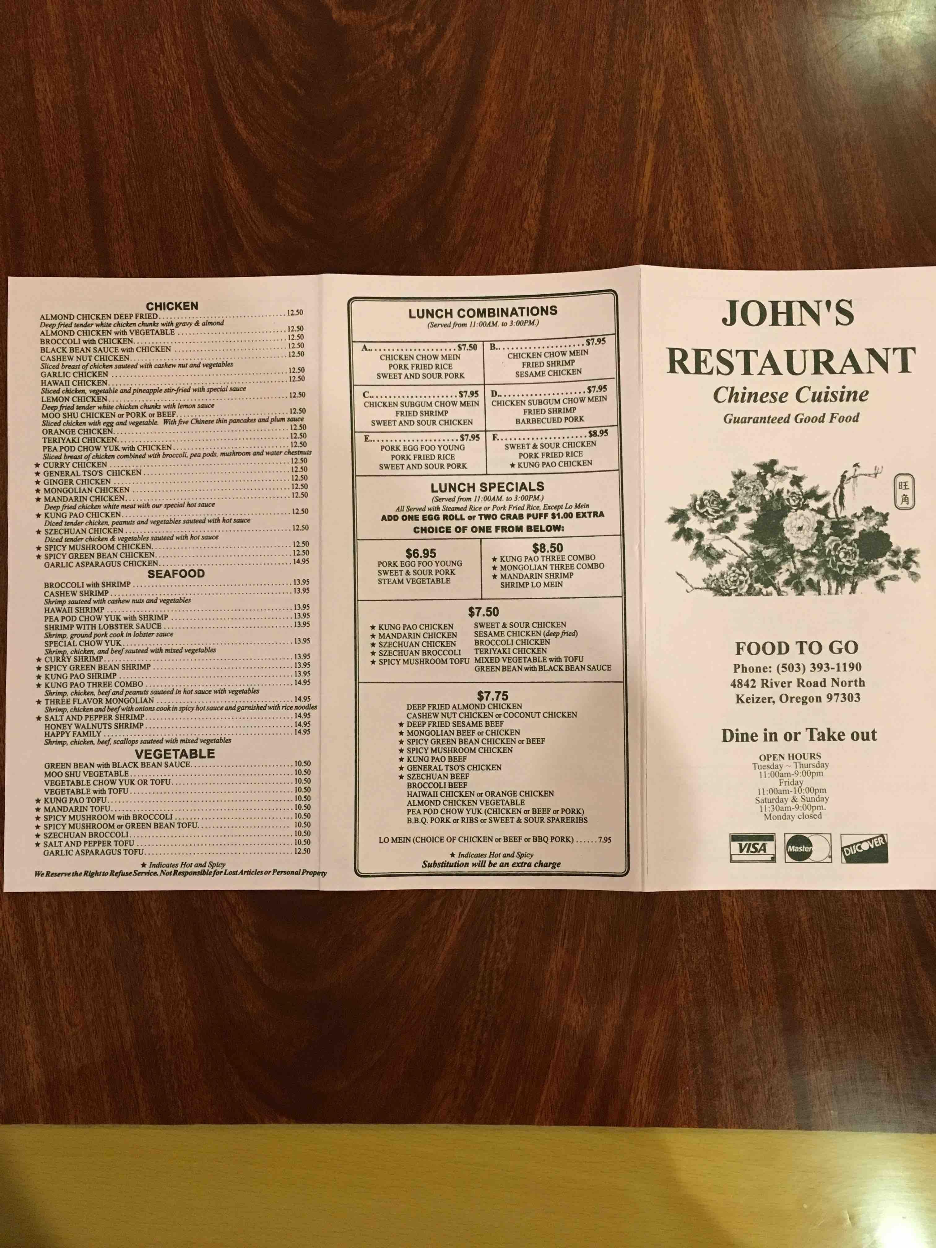 Online Menu of Johns Chinese Restaurant Restaurant Keizer