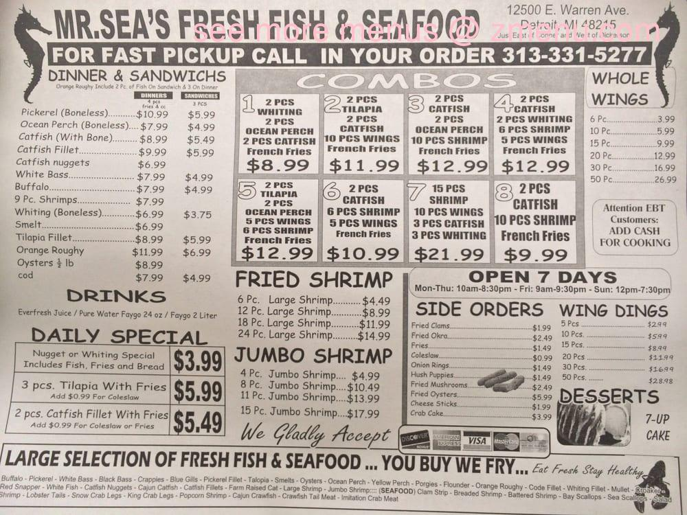 Fresh Fresh Seafood Menu