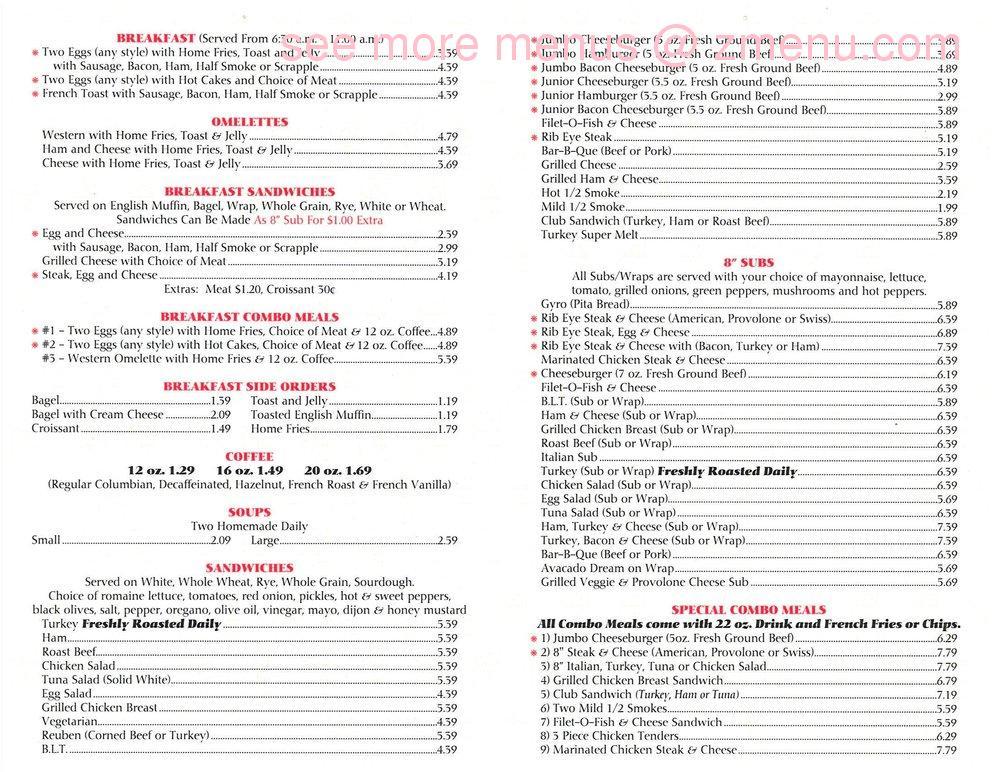 Restaurant 168 Cafe Menu