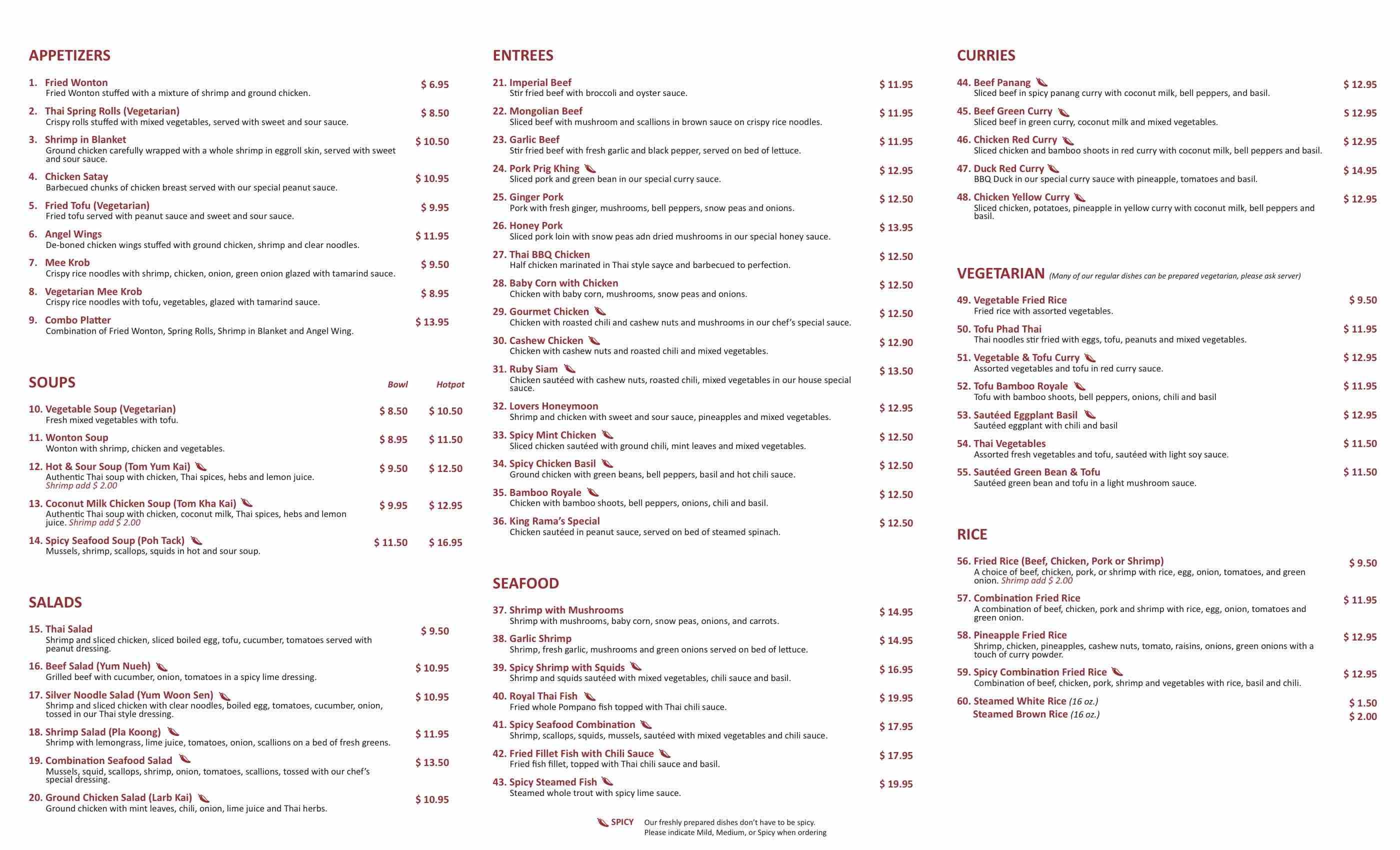 Online Menu of Thai Kitchen Restaurant Irvine California