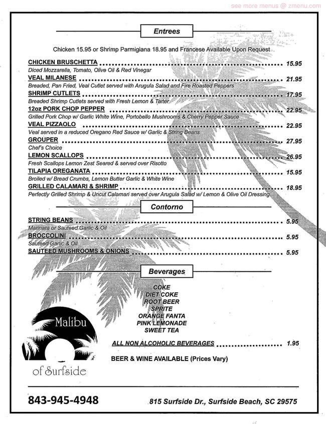 Online Menu of Malibu of Surfside Restaurant, Surfside