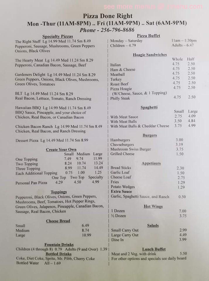 online menu of pizza