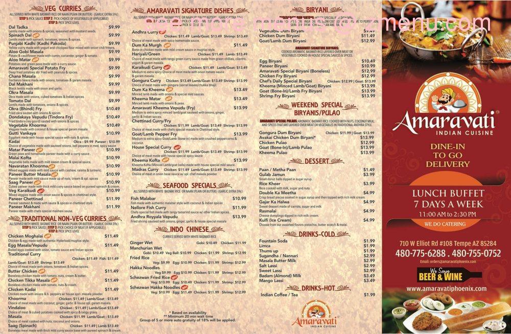 online menu of amaravati indian cuisine