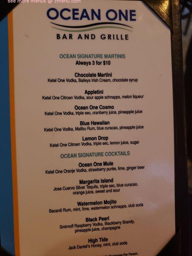Tdp 10 jt toyota avanza g mt thn 2013 silver. Online Menu of Ocean One Bar & Grille Restaurant, Delray