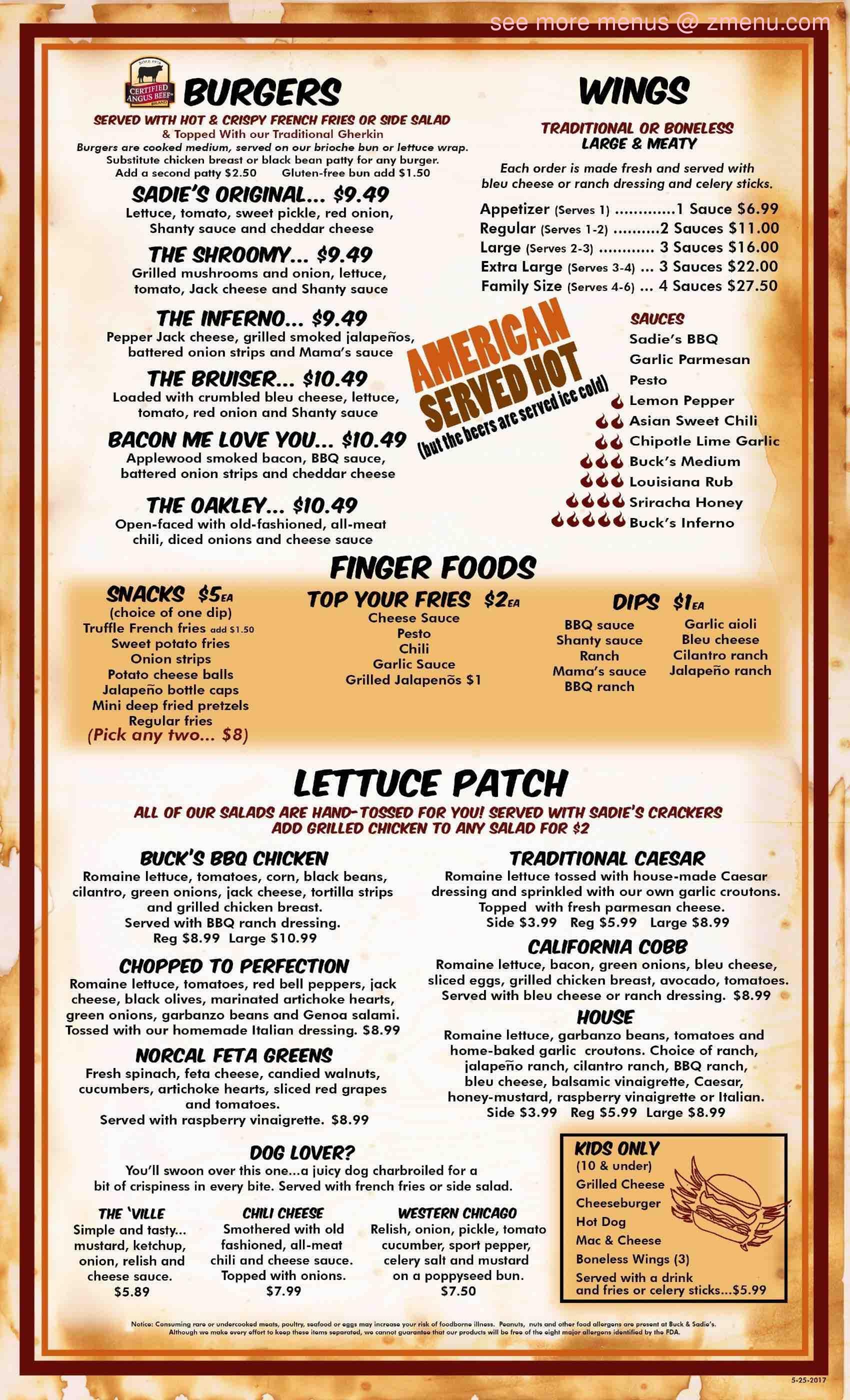 online menu of buck