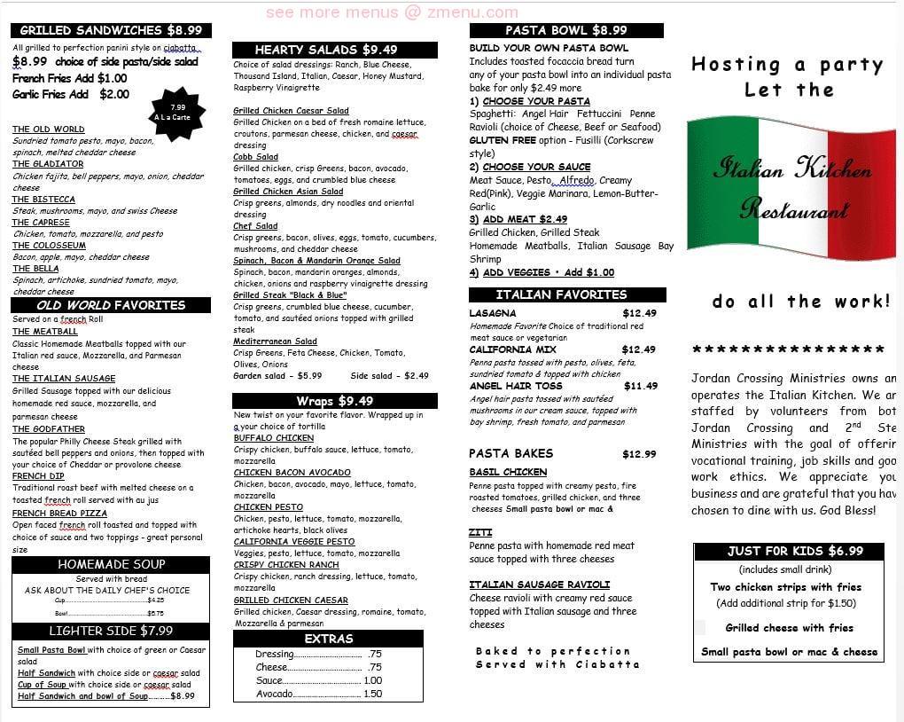 Online Menu of The Italian Kitchen Restaurant, Oroville