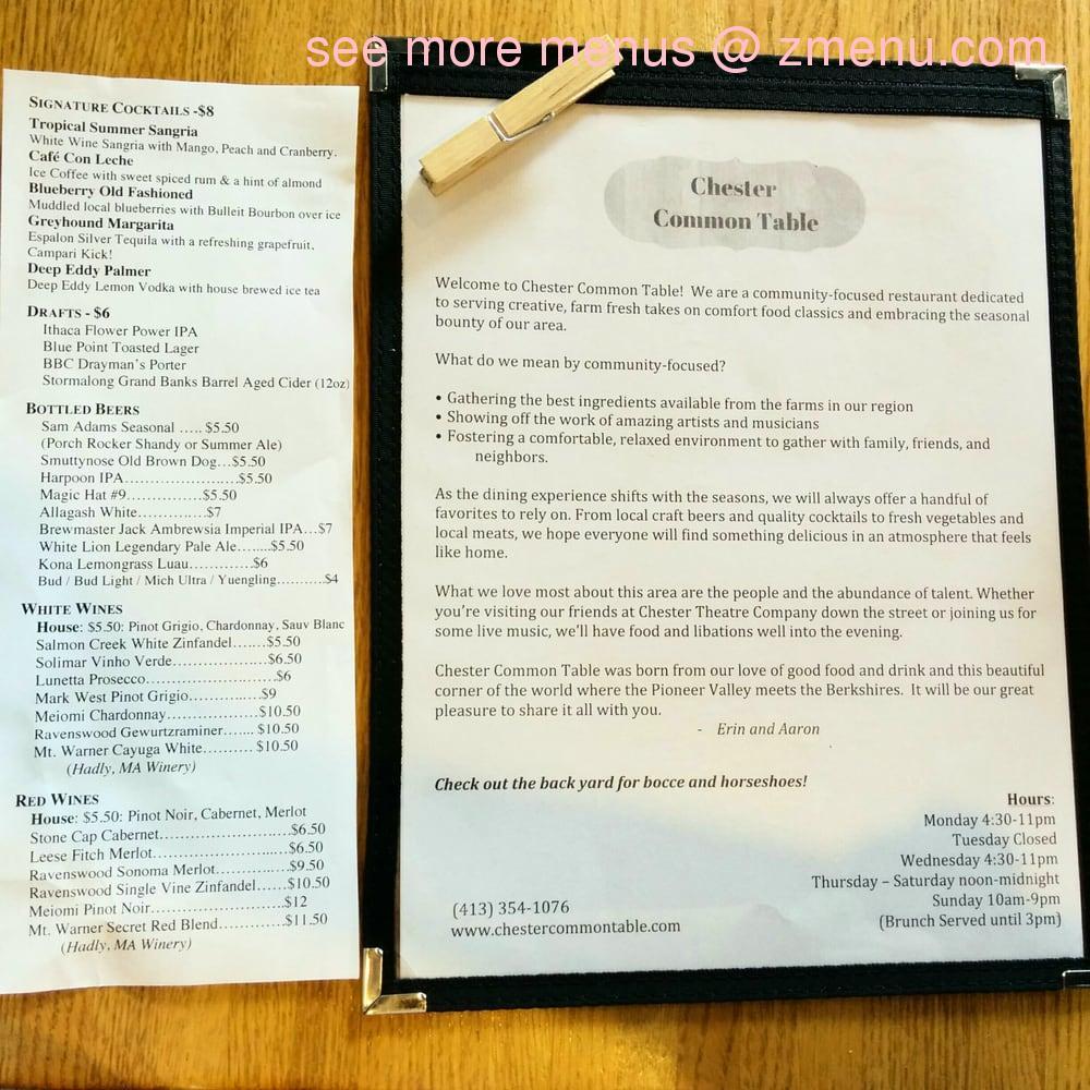 Online Menu Of Chester Common Table Restaurant Chester Massachusetts 01011 Zmenu