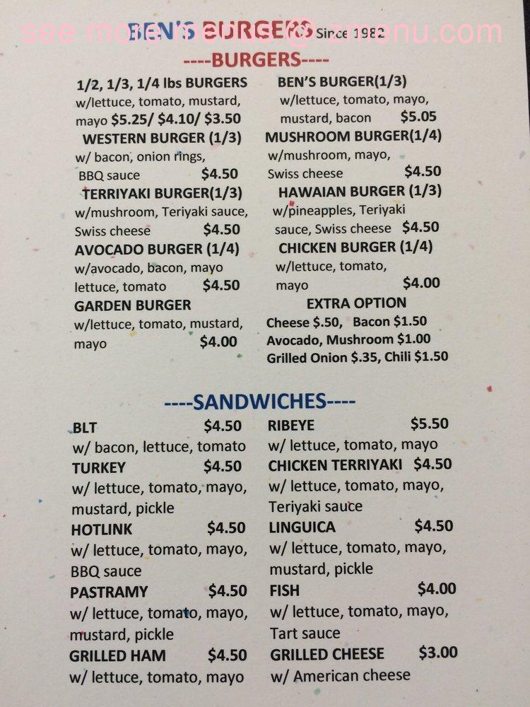 online menu of bens