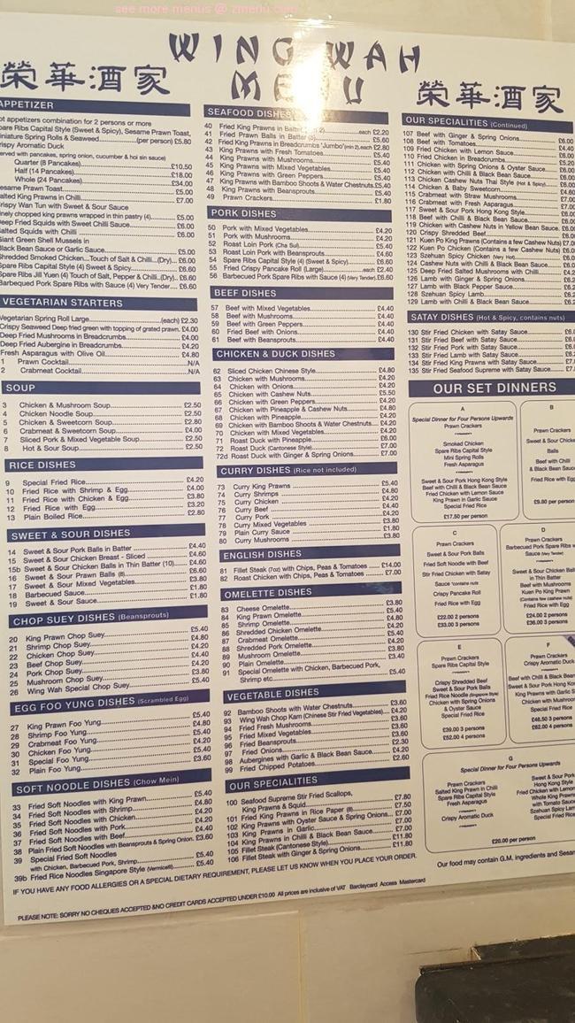 Online Menu of Wing-Wah Chinese Restaurant Restaurant. East Grinstead. United Kingdom. RH19 1HA - Zmenu