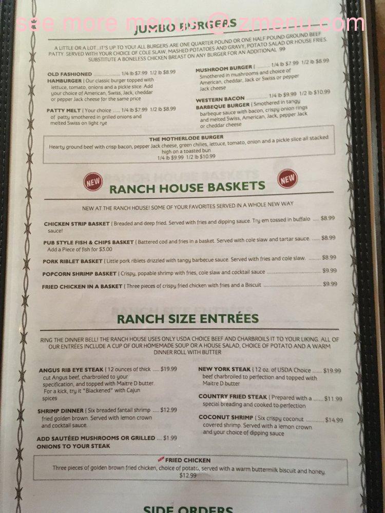 Online Menu of The Ranch House Restaurant, Dayton, Nevada