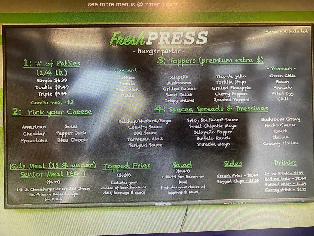 Online Menu of Fresh Press Burger Parlor Restaurant. Apache Junction. Arizona. 85120 - Zmenu