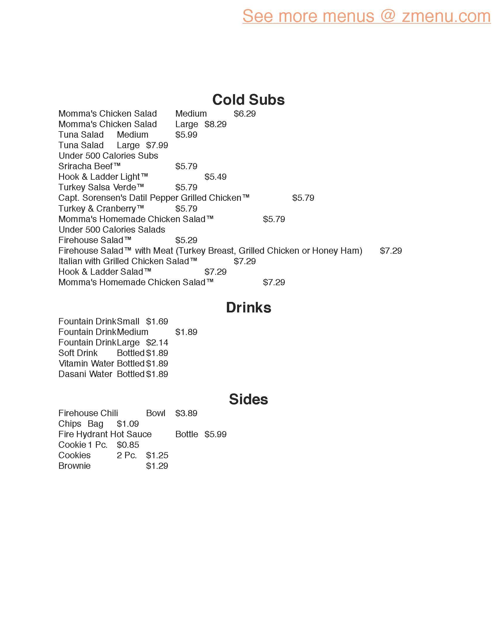 Online Menu of Firehouse Subs Restaurant, Burlington, North Carolina ...