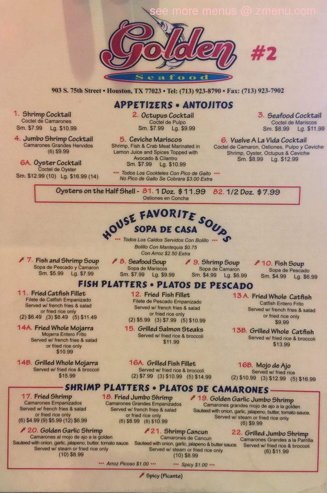 Online Menu of Golden Seafood Restaurant Restaurant Houston Texas 77023  Zmenu