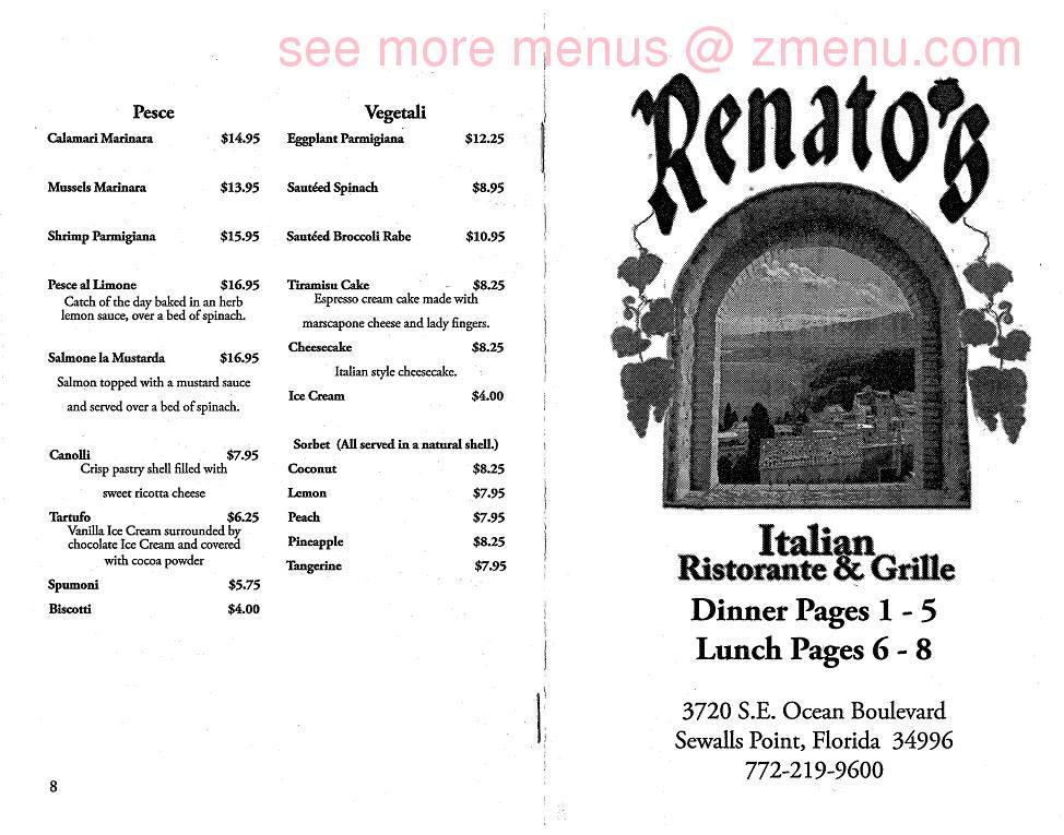 Online Menu of Renatos Italian Ristorante Restaurant