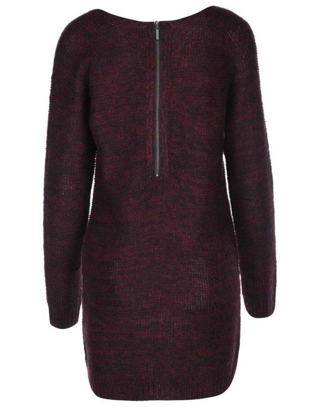 Černo-vínové pletené šaty s dlouhým rukávem Brave Soul 63a3e12ba8