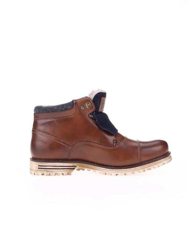 Hnědé pánské kožené kotníkové boty s umělou kožešinou bugatti Fox. bugatti.  Katalogové číslo  106932. Cena 2349 Kč. Koupit. Nepravá kožešina ba2382c502