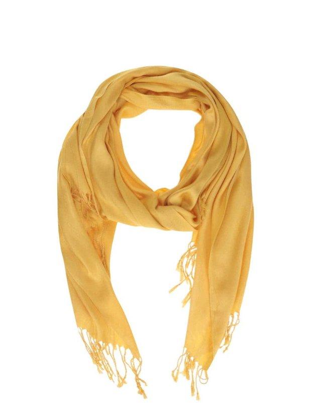 504851878c7 Žlutý šátek s třásněmi INVUU London (176553) od ZOOT