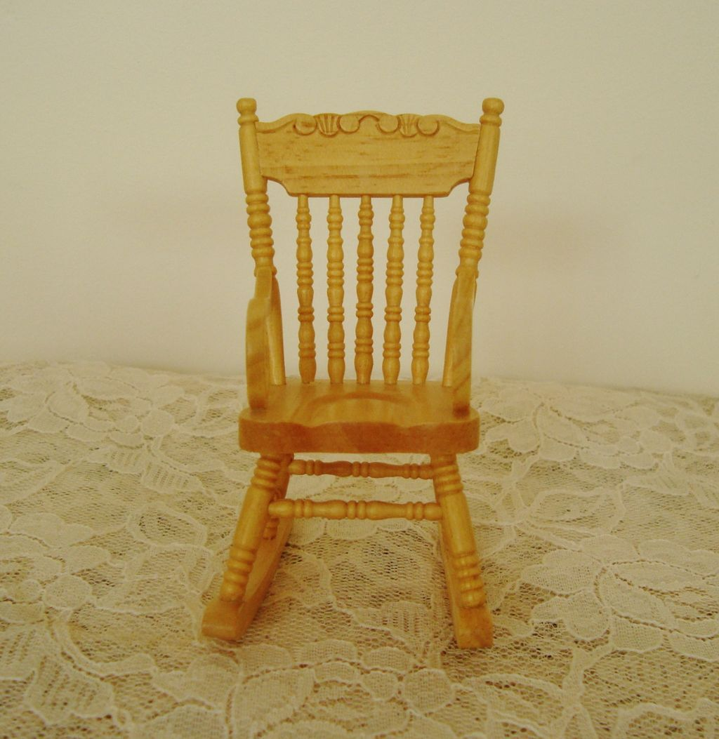 mini rocking chair damask covers uk miniature dollhouse wood furniture rocker