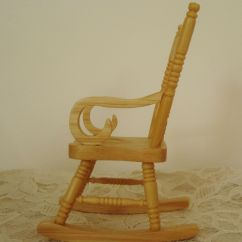 Mini Rocking Chair Office Headrest Extension Miniature Dollhouse Wood Furniture Rocker